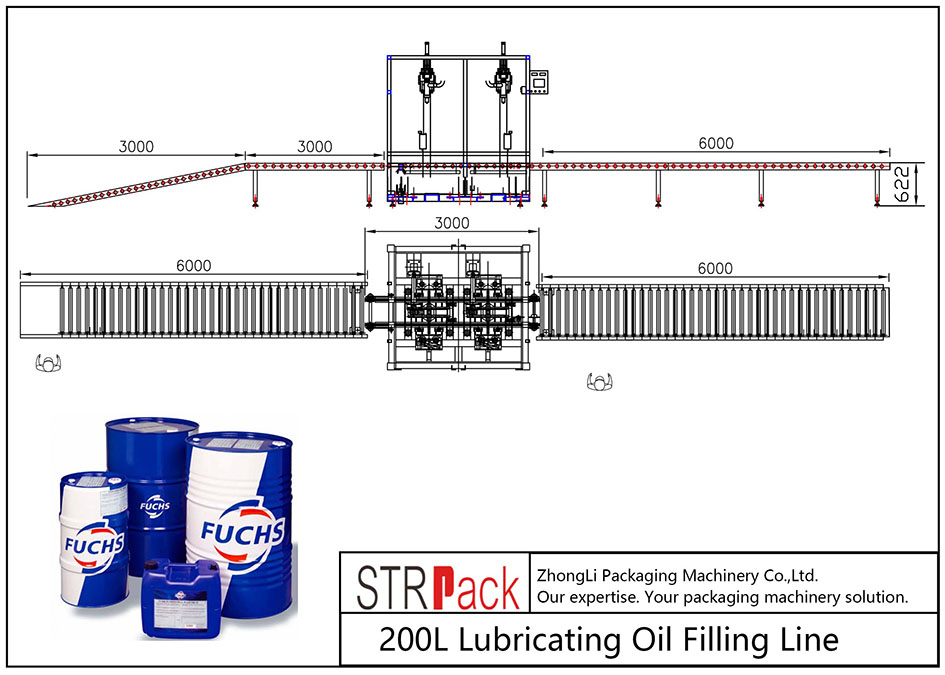 Автоматична линия за пълнене с 200L смазочно масло