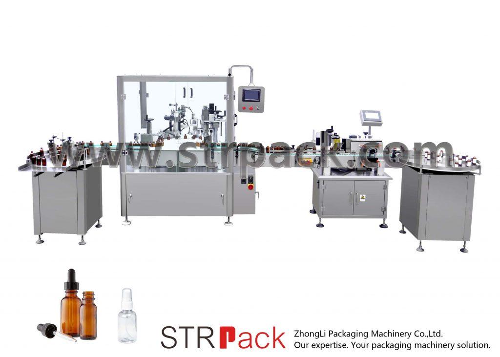 Автоматична машина за пълнене и затваряне на бутилка с капкомер
