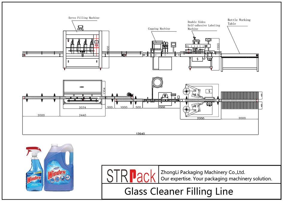Линия за пълнене с автоматично почистване на стъкло
