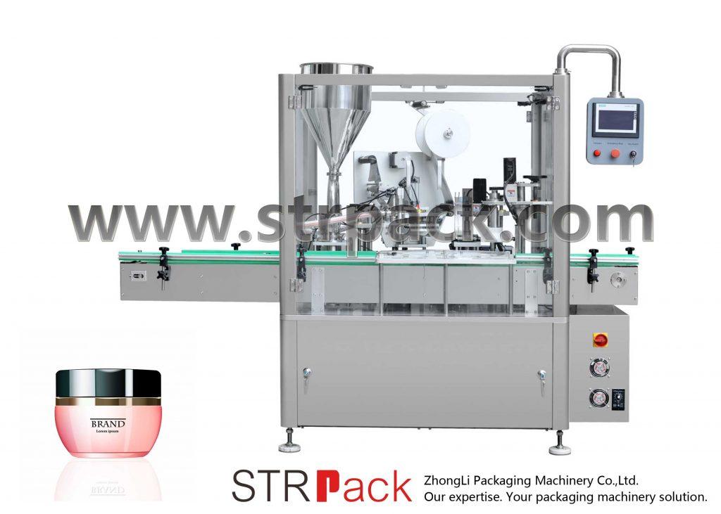 Машина за пълнене, запечатване и затваряне на крем